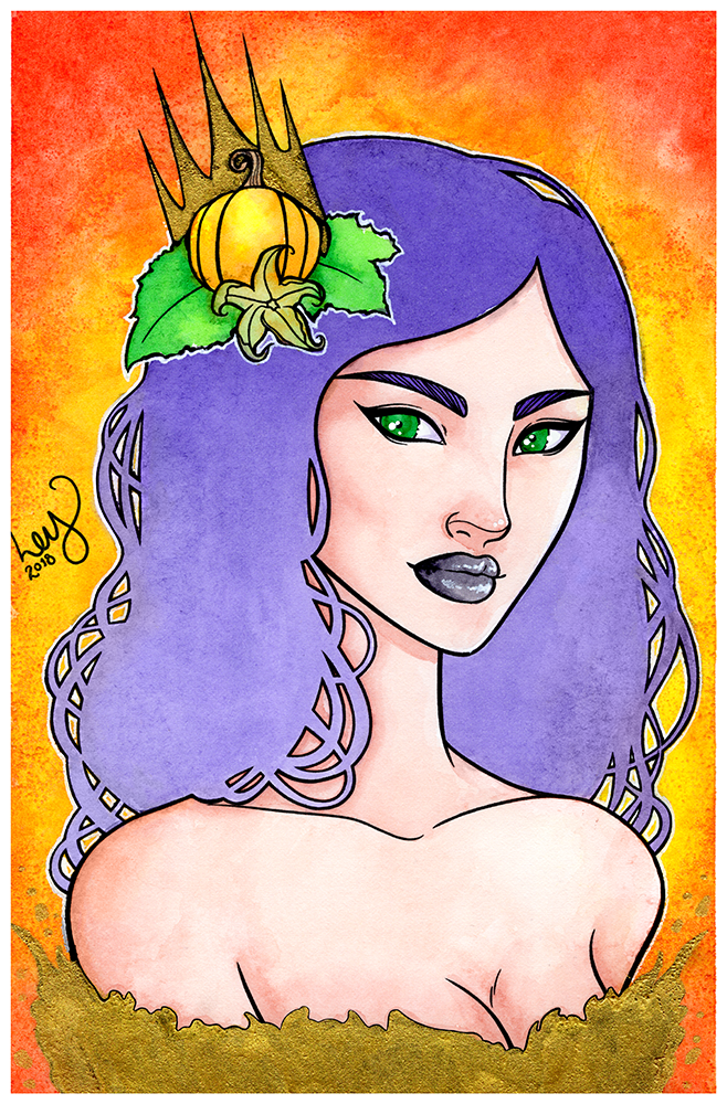 Pumpkin Queen - Watercolor Illustration