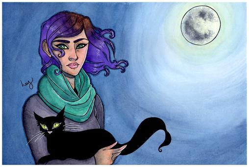 Spooky Moon - Watercolour Illustration